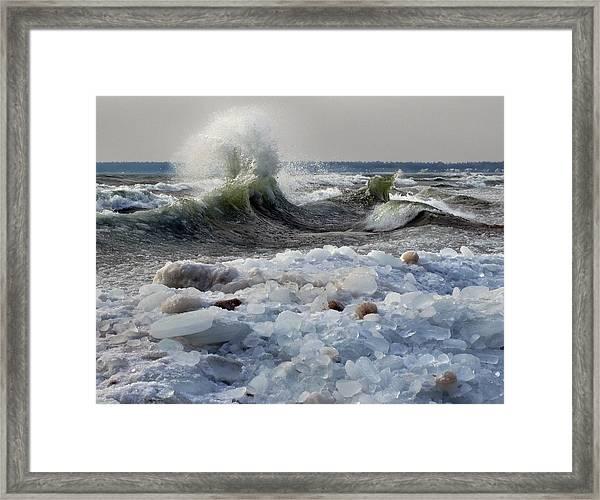 Winter Waves At Whitefish Dunes Framed Print