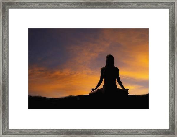 Woman Practicing Yoga Framed Print