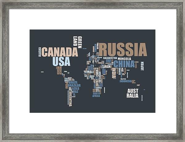 World Map In Words Framed Print