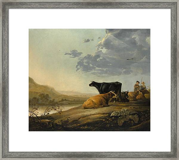 Young Herdsmen With Cows Framed Print