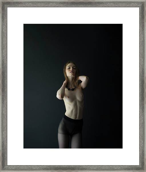 Young Woman In Pantyhose Framed Print