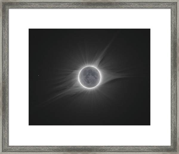 2017 Eclipse With Earth Shine Framed Print by Dennis Sprinkle