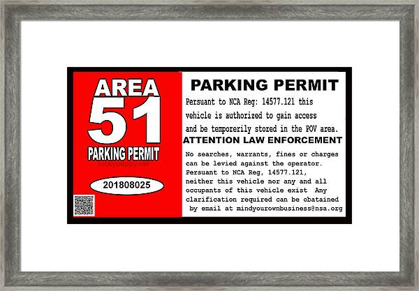 2018 Area 51 Parking Permit Framed Print