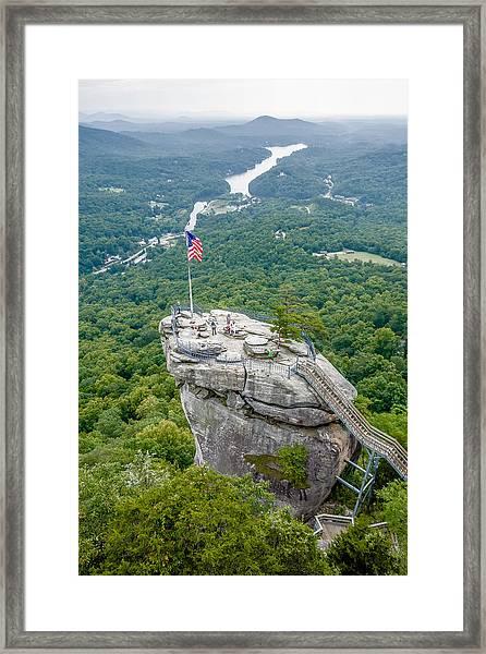 Lake Lure And Chimney Rock Landscapes Framed Print