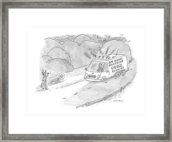 24 Hour Roadside Tuba Service Framed Print