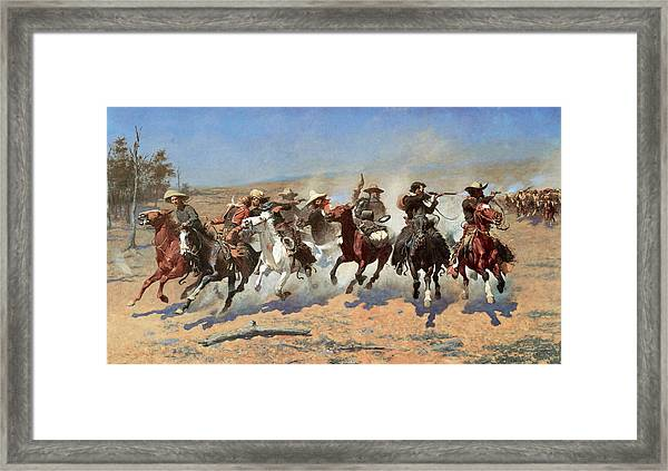 A Dash For The Timber Framed Print
