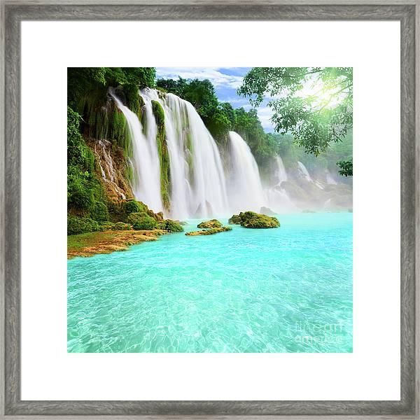Detian Waterfall Framed Print