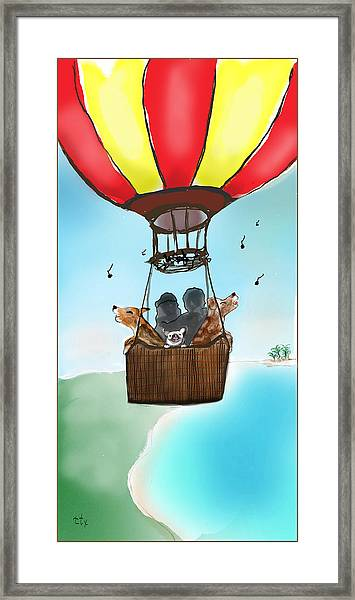 3 Dogs Singing In A Hot Air Balloon Framed Print