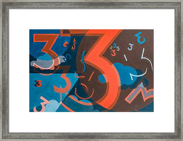 Framed Print featuring the painting 3 In Blue And Orange by Break The Silhouette