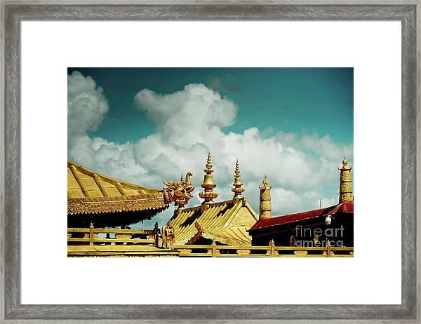 Lhasa Jokhang Temple Fragment Tibet Artmif.lv Framed Print