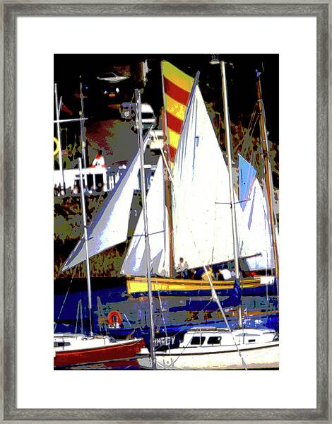 Oyster Boats Framed Print