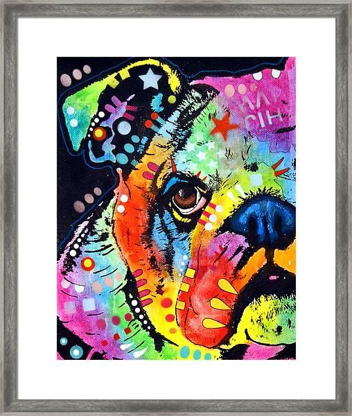 Peeking Bulldog Framed Print