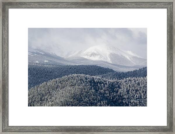 Pikes Peak In Snow Framed Print