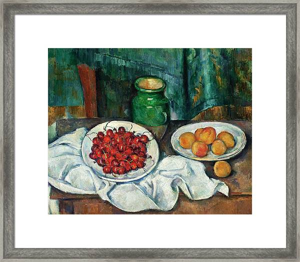 Still Life With Cherries And Peaches Framed Print