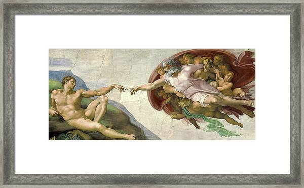 The Creation Of Adam Framed Print