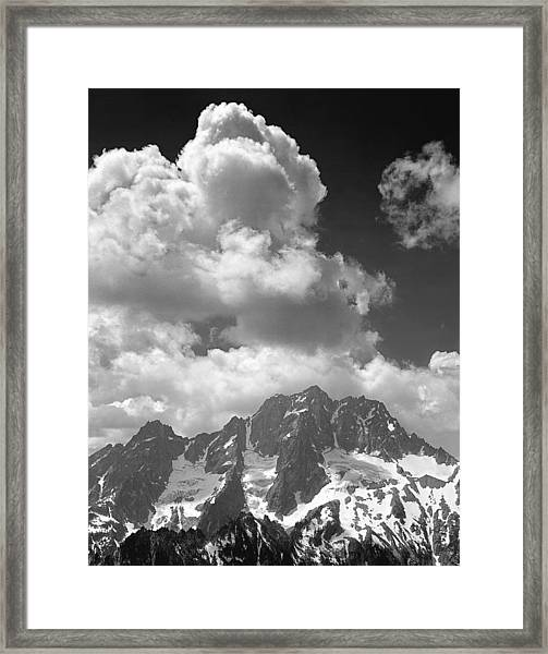 304638 Clouds Over Mt. Stuart Bw Framed Print