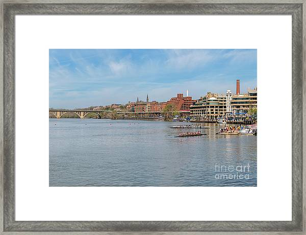 Panoramic Spring View Of The Georgetown Waterfront On The Potomac River In Washington Dc Cm1 Framed Print