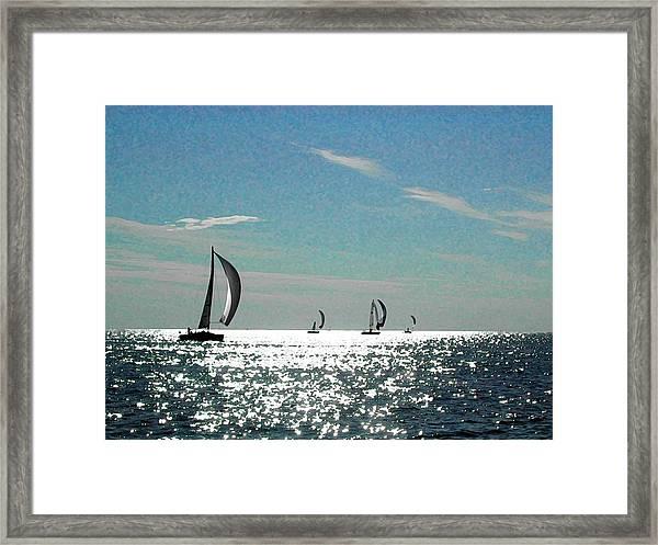 4 Boats On The Horizon Framed Print