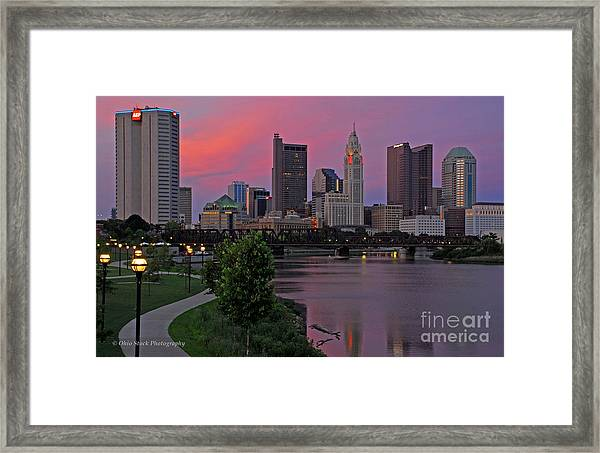 D2l37 Columbus Ohio Skyline Photo Framed Print