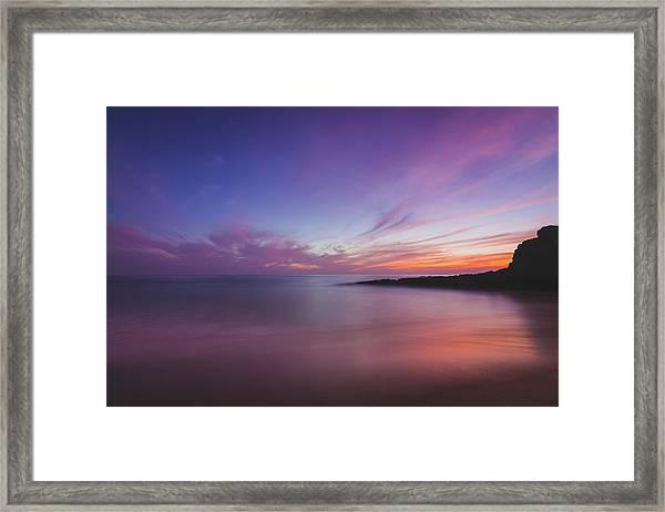Diver's Cove Sunset Framed Print