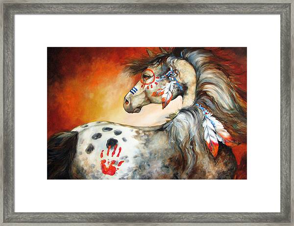 4 Feathers Indian War Pony Framed Print