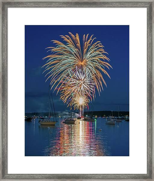 Independence Day Fireworks In Boothbay Harbor Framed Print