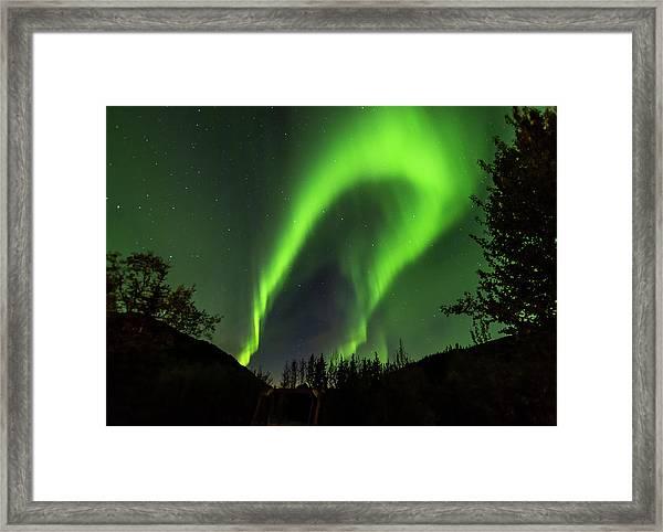 Northern Lights, Aurora Borealis At Kantishna Lodge In Denali National Park Framed Print
