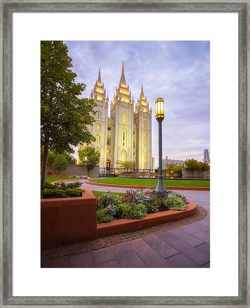 Framed Print featuring the photograph Salt Lake Temple by Dustin  LeFevre