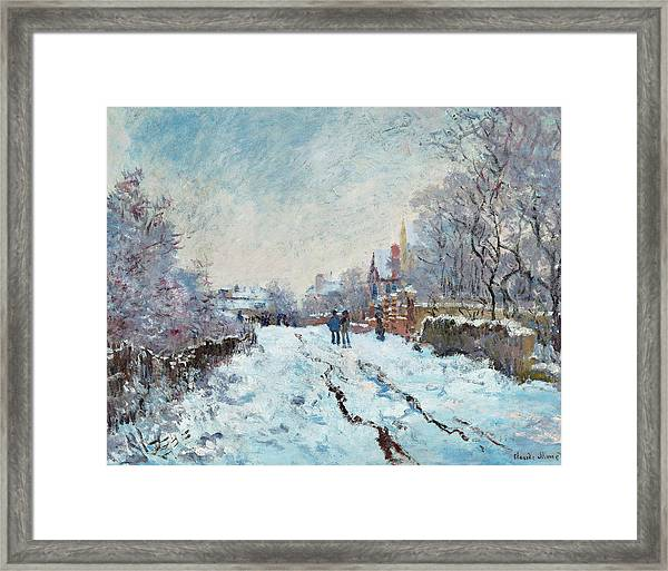 Snow Scene At Argenteuil, 1875 Framed Print