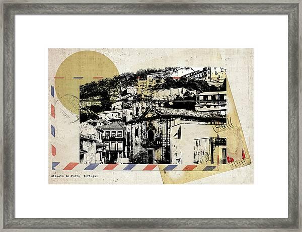 stylish retro postcard of Porto  Framed Print