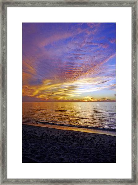 Sunset At Delnor Wiggins Pass State Park In Naples, Fl Framed Print