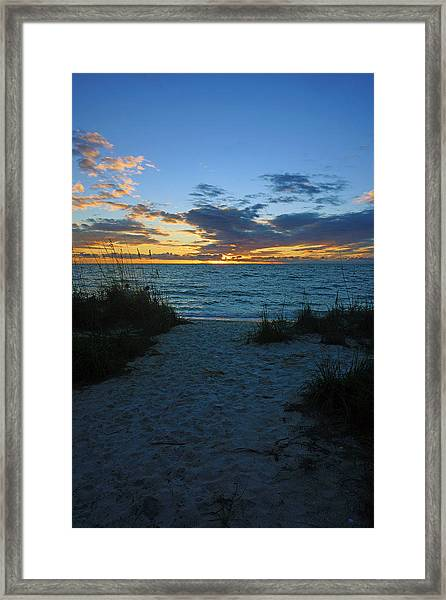 Sunset At Delnor Wiggins Pass State Park Framed Print