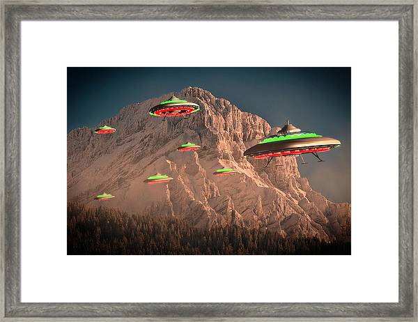 Ufo Invasion Force By Raphael Terra Framed Print