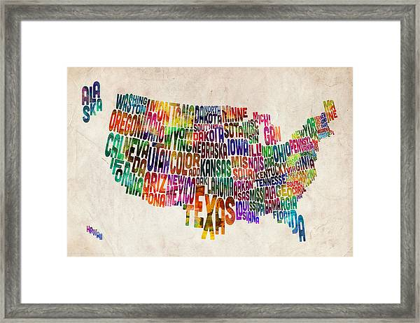 United States Text Map Framed Print by Michael Tompsett