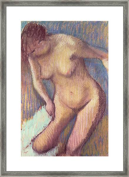 Woman Drying Herself Framed Print