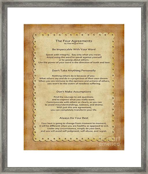 41- The Four Agreements Framed Print