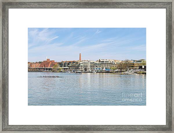 Panoramic Spring View Of The Georgetown Waterfront In Washington Dc Cm3 Framed Print