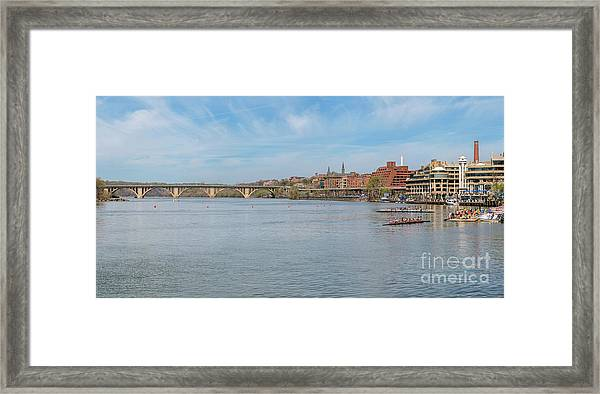 Panoramic Spring View Of The Georgetown Waterfront On The Potomac River In Washington Dc Cm2 Framed Print