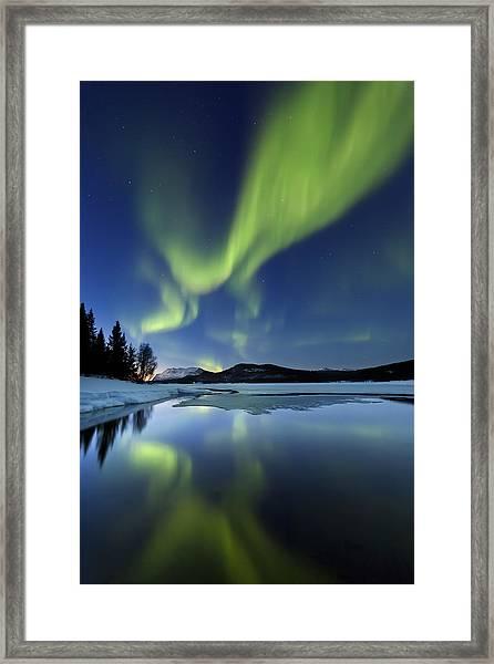 Aurora Borealis Over Sandvannet Lake Framed Print