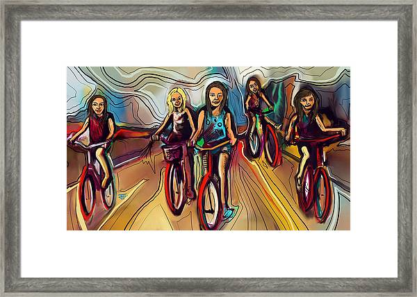 5 Bike Girls Framed Print