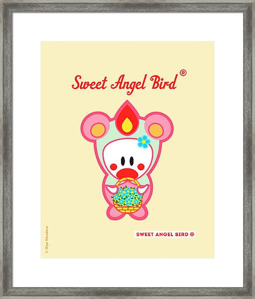 Cute Art - Sweet Angel Bird In A Pink And Mint Bear Costume Holding A Basket Of Blue Flowers Wall Art Print Framed Print