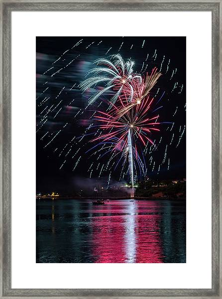 Fireworks Over Portland, Maine Framed Print