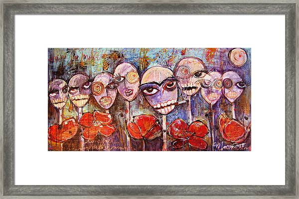 Framed Print featuring the painting 5 Poppies For The Dead by Laurie Maves ART