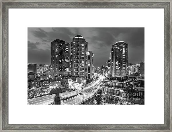 Seoul Night Rush Framed Print