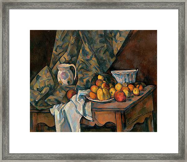 Still Life With Apples And Peaches Framed Print