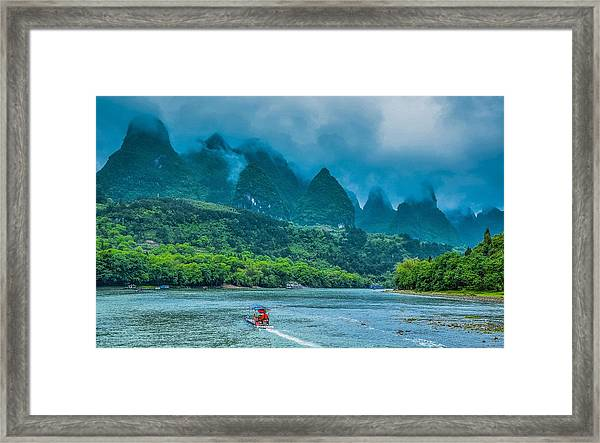 Karst Mountains And Lijiang River Scenery Framed Print