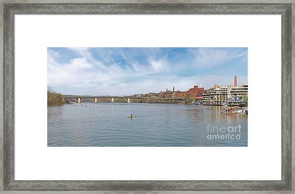 Panoramic Spring View Of Regatta At Georgetown Waterfront Washington Dc Cm1 Framed Print