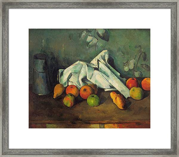Milk Can And Apples Framed Print