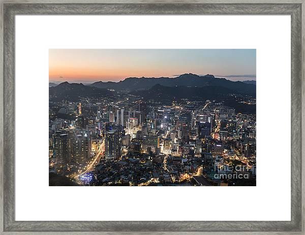 Sunset Over Seoul Framed Print