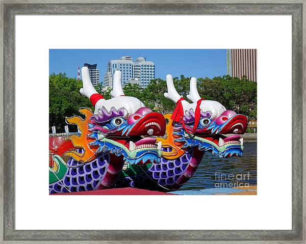 Traditional Dragon Boats In Taiwan Framed Print